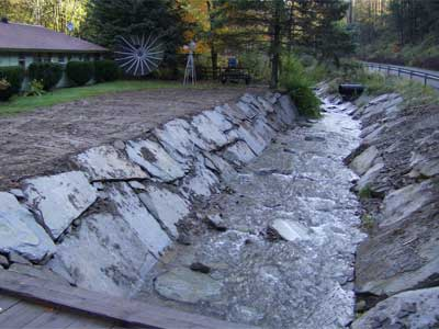 Protection of a home that sustained a lot of erosion